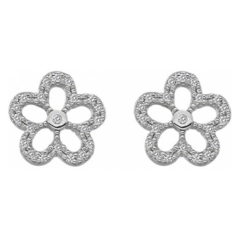 Hot Diamonds Strieborné náušnice s pravými diamantmi Daisy DE583