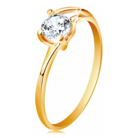 Prsteň zo žltého 14K zlata - tenké rozdelené línie ramien, žiarivý číry zirkón - Veľkosť: 52 mm