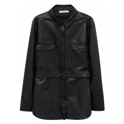 VIOLETA by Mango Prechodná bunda 'Cuero'  čierna