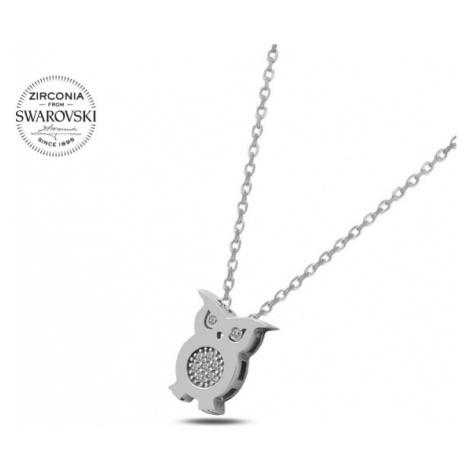 OLIVIE Strieborný náhrdelník SOVA Swarovski 3518