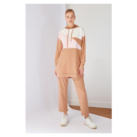 Trendyol Beige Hooded Paneled Knitted Tracksuit Set
