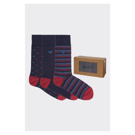 Emporio Armani Underwear Emporio Armani darčekové 3- balenie pánske ponožky - tmavomodrá, červen