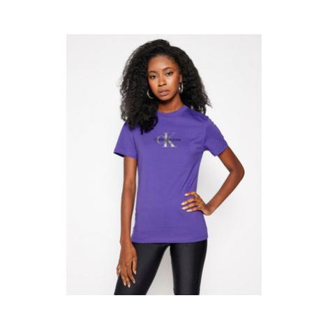 Calvin Klein Jeans Tričko Glitter Logo J20J214787 Fialová Slim Fit