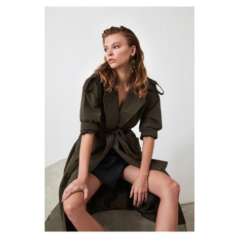 Trendyol Khaki Epaulette Detailed Belted Oversize Long Trench Coat