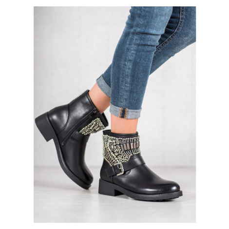 BESTELLE BOOTIES WITH CRYSTALS black