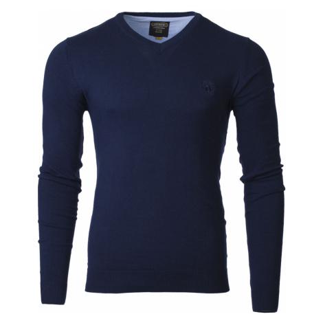 Pánsky sveter s výstrihom do V Verel tmavo modrá