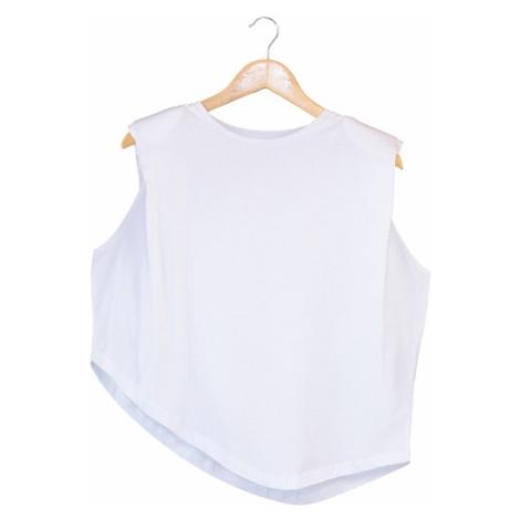 Trendyol White Padded Asymmetric Knitted Blouse