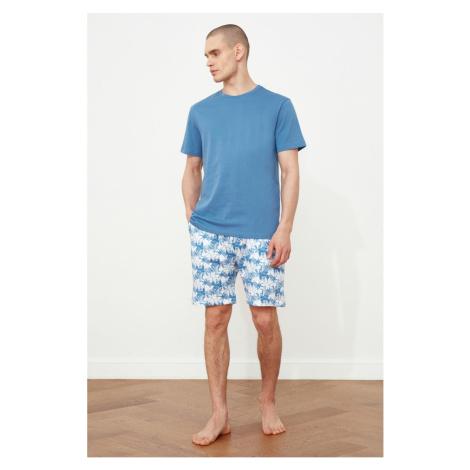 Trendyol Blue Palm Printed Pyjama Set