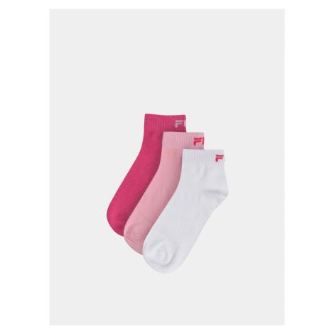 Sada troch párov dámskych členkových ponožiek v ružovej a bielej farbe FILA