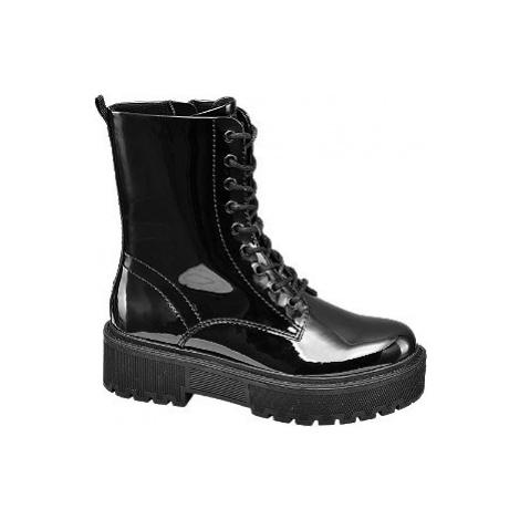 Čierna lakovaná šnurovacia obuv so zipsom Catwalk