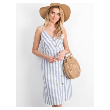 Modro-biele pruhované šaty na ramienka s gombíkmi