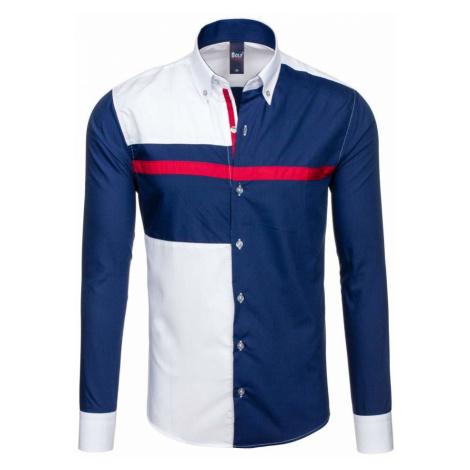Tmavomodrá pánska vzorovaná košeľa s dlhými rukávmi BOLF 5729