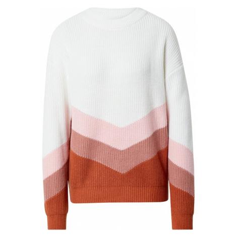 ROXY Sveter  rosé / biela / tmavoružová