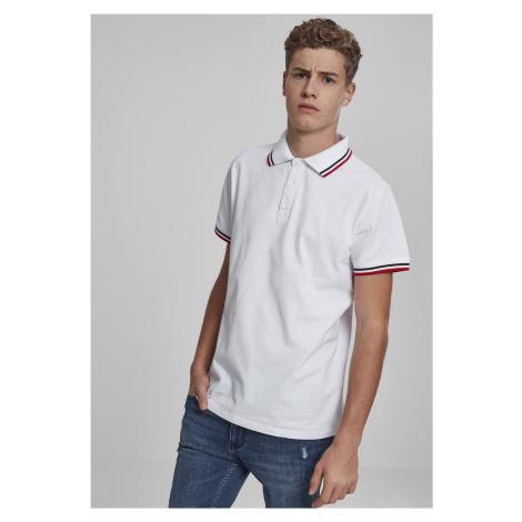 Pánska polokošeľa URBAN CLASSICS Double Stripe Poloshirt white/navy/fire red