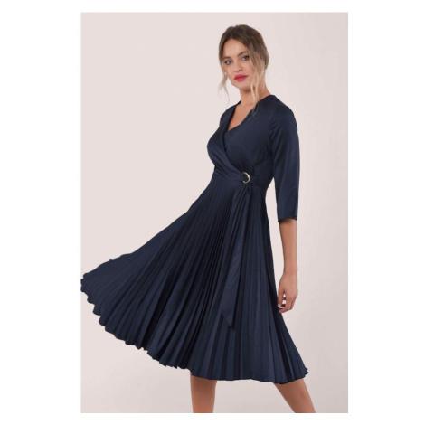 Asymetrické zavinovacie šaty farby Navy Closet
