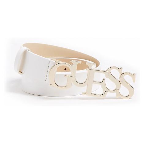 Guess biely kožený opasok Logo Buckle