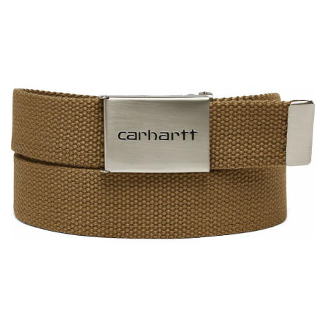 Carhartt WIP Clip Belt Chrome - Leather Brown-One size svetlohnedé I019176_8Y_00-One-size