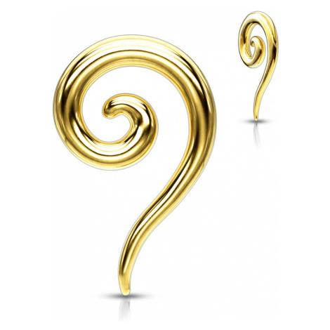 Oceľový expander do ucha v zlatej farbe - hladká zatočená špirála - Hrúbka piercingu: 5 mm