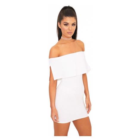 Biele bardot šaty Carley PrettyLittleThing