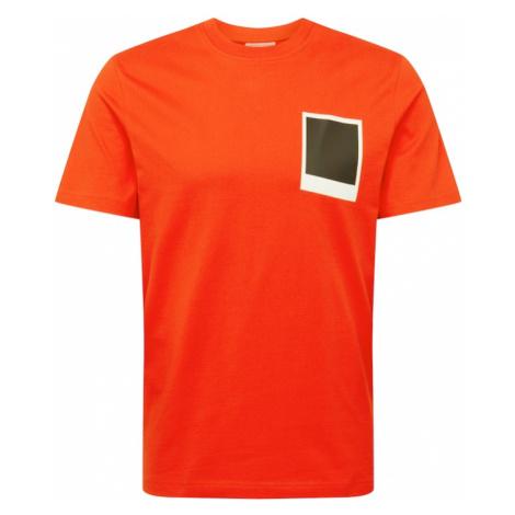 LACOSTE Tričko  oranžovo červená / čierna / biela