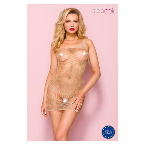 Béžové sexi sieťované šaty CA001 Casmir