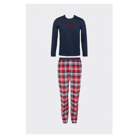 Emporio Armani Underwear Emporio Armani flanelové pyžamo pánske - modrá, červená Veľkosť: S