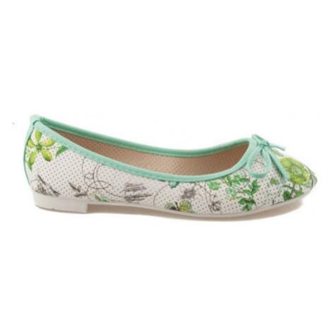 Zelené balerínky s kvetmi Vices