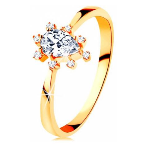 Prsteň v žltom 14K zlate - číra zirkónová kvapka, vyčnievajúce zirkóniky - Veľkosť: 59 mm