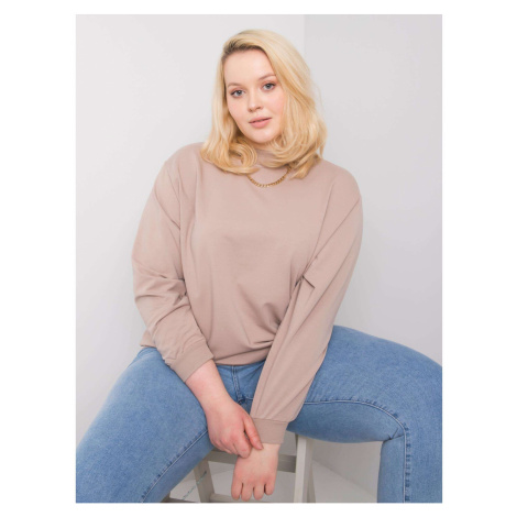 Dark beige plus size basic sweatshirt