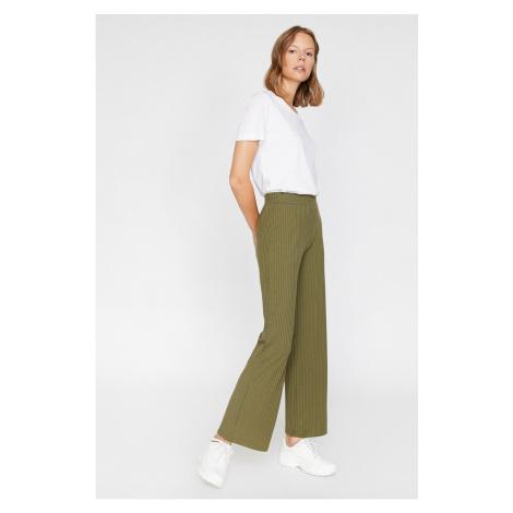 Koton Women Green Normal Waist Wide Leg Trousers