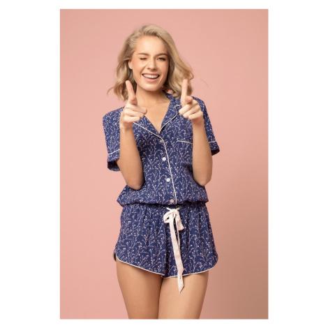 Dámske pyžamo Aruelle Lilianne Short SS Modrá