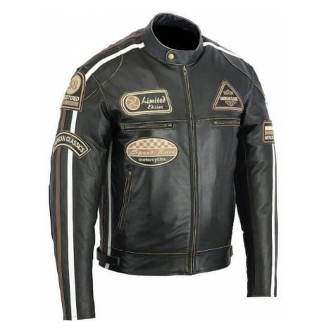 Kožená moto bunda BOS 2058 Antique black Farba čierna