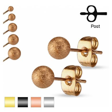 Náušnice z ocele 316L, ligotavé pieskované guličky, 3 mm - Farba: Zlatá