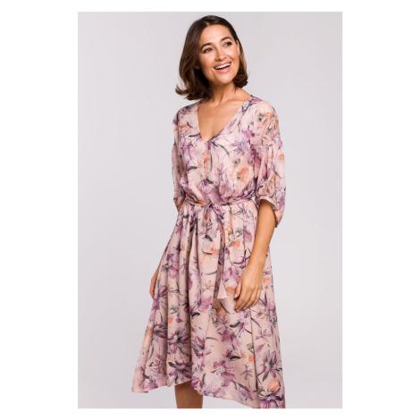 Svetloružové kvetované midi šaty S226
