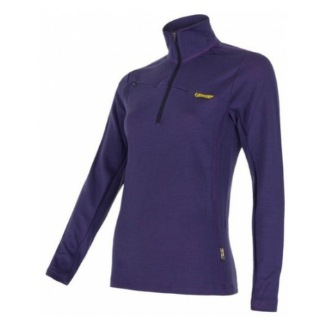 Tričko krátky zips Sensor Merino Wool fialová 14200013