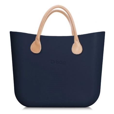 Obag mini navy s krátkymi rúčkami koža natural O bag