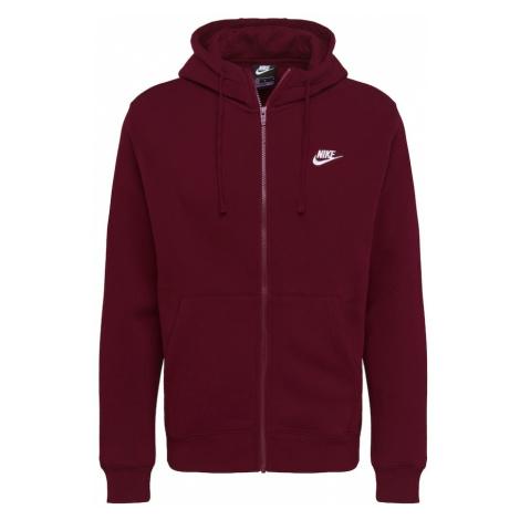 Nike Sportswear Tepláková bunda  biela / vínovo červená
