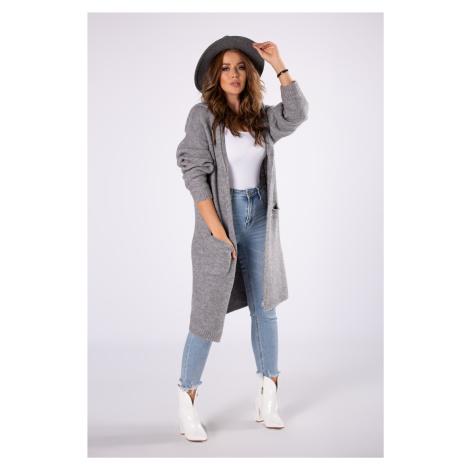 Dlhý šedý sveter s kapucňou a vreckami