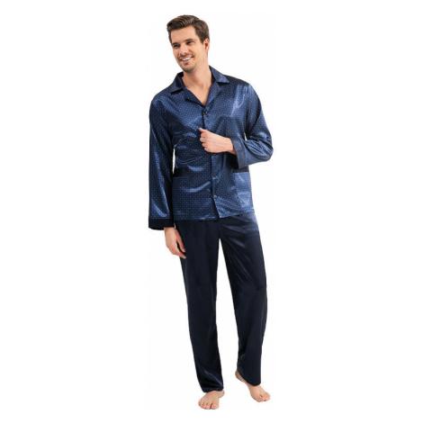 Pánske saténové pyžamo Charles modré Luna