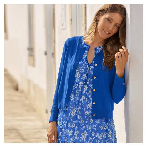 Blancheporte Krátky sveter s gombíkmi modrá