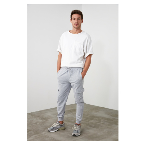 Trendyol Grey Men's Waist and Trousers PocketEd Tracksuit Bottom