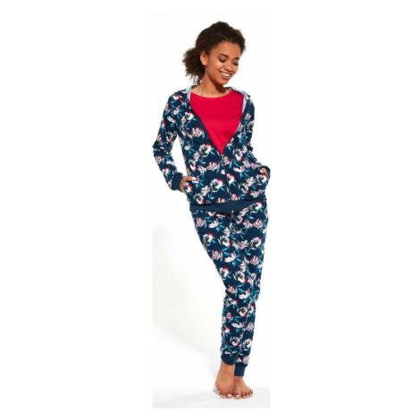 Pyžamový set Cornette 355 - barva:COR243/Modrá s kvetinami