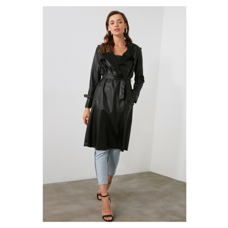 Trendyol Black Artificial Leather Belted Trench Coat