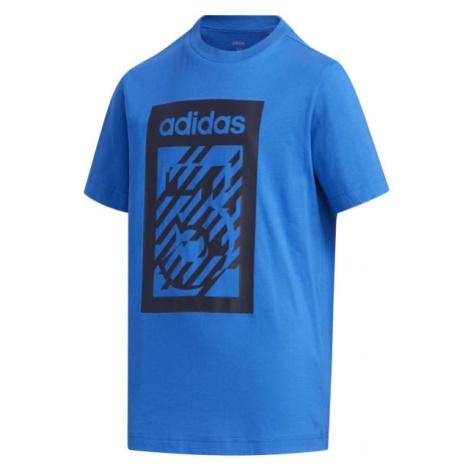 adidas YB BOX TEE modrá - Chlapčenské tričko