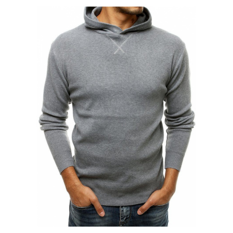 Zaujímavý šedý sveter s kapucňou DStreet
