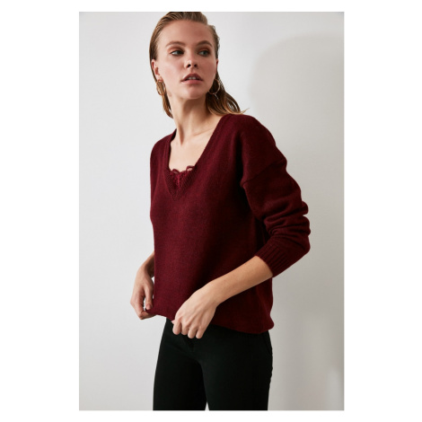 Trendyol Burgundy Lace Detailed Knitwear Sweater