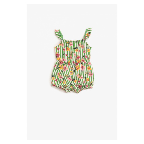 Koton Girls Floral Jumpsuit Striped Cotton Strapped Fence