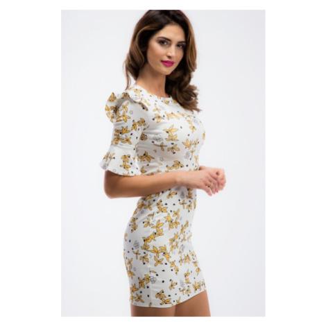 Smotanové mini šaty so zlatými vzormi a volánmi FASARDI