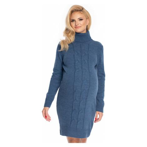 Modré tehotenské rolákové šaty 70033 PeeKaBoo