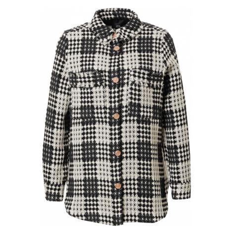 River Island Prechodná bunda 'Check Boucle Overshirt'  biela / čierna